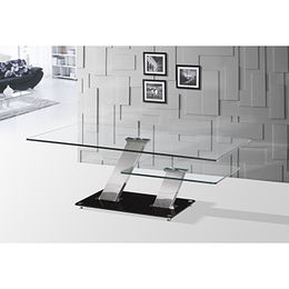 China Tempered-glass Table Top with Stainless Steel Legs