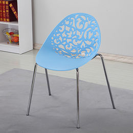 Bright colored plastic chair with metal legs from Langfang Peiyao Trading Co.,Ltd