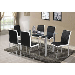 China Tempered-glass table with stainless steel legs/1+6