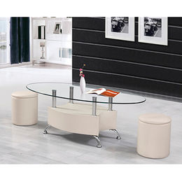 China Tempered-glass Top, MDF with PVC Frame, 2 Stools with PVC