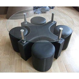 China Coffee table with round glass top and 4 stools