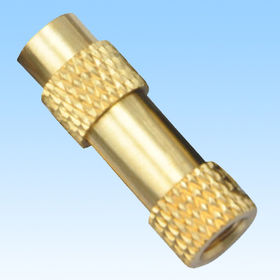 Turning Parts, Made of Brass, Surface with Knurling from HLC Metal Parts Ltd
