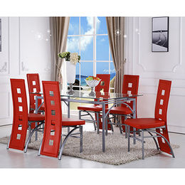 China Glass restaurant dining table, saving space with chromed legs
