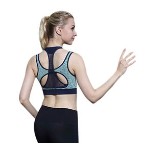 China Seamless Sports Bra with Fashionable Criss-cross Back and Inserted Foam Cup