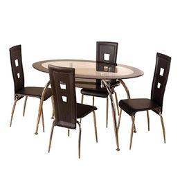 China Dining room table set with glass top and stainless steel legs