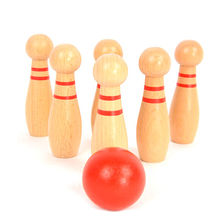 China Best sale kid's wooden mini bowling game for fun W01A303