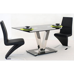 V shape glass top and stainless steel dining set from Langfang Peiyao Trading Co.,Ltd