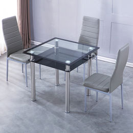 Dining table with tempered glass table top and PVC wrapped legs from Langfang Peiyao Trading Co.,Ltd