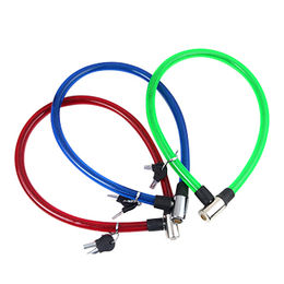 China Bicycle Steel Cable Lock,with 2 keys and lock head,10*650MM,red/yellow/green/blue color, client Logo