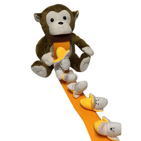 ICTI audited adorable plush monkey toy eating banana birthday gift from Dongguan Yi Kang Plush Toys Co., Ltd