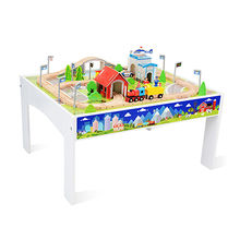 China 80pcs kids wooden large toy train with table W04C084