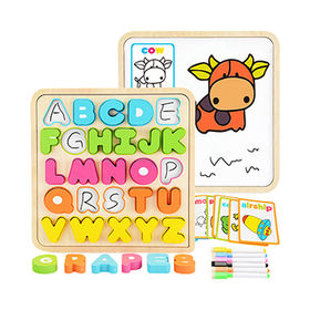 China New hottest educational alphabet letters wooden 3D puzzle toy for baby W14B086