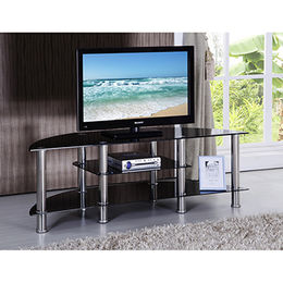 Three tiers TV stand with tempered-glass and stainless steel legs from Langfang Peiyao Trading Co.,Ltd