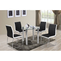 Popular round dining table, stainless steel legs with tempered glass table top from Langfang Peiyao Trading Co.,Ltd