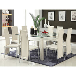 Glass dining, table top with metal frame from Langfang Peiyao Trading Co.,Ltd