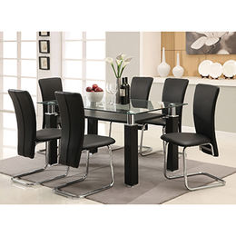 Tempered glass dining table with 6 chairs, PU wrapped legs with MDF inside from Langfang Peiyao Trading Co.,Ltd