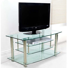 Modern living room furniture LED TV stand with clear tempered glass from Langfang Peiyao Trading Co.,Ltd