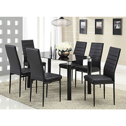 Hot sell dining table set with glass table top and plastic legs(FDT-D1) from Langfang Peiyao Trading Co.,Ltd