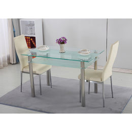 Glass dining table with stainless steel leg and rectangle glass top from Langfang Peiyao Trading Co.,Ltd