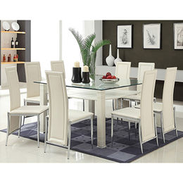 China PU seat glass dining room table set
