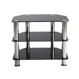 Glass TV table,3 tier tempered black glass from Langfang Peiyao Trading Co.,Ltd
