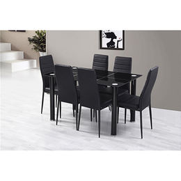 Modern dining table with tempered glass top and plastic legs from Langfang Peiyao Trading Co.,Ltd