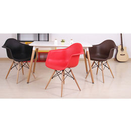 Classic DSW chair with plastic back, wooden legs from Langfang Peiyao Trading Co.,Ltd