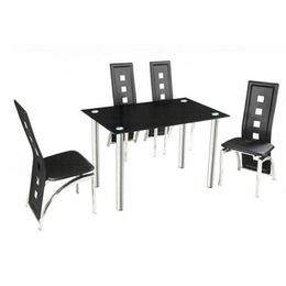 Glass Dining Table, Tempered-glass Top with Metal Frame from Langfang Peiyao Trading Co.,Ltd