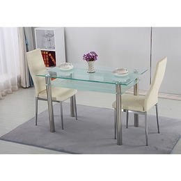 Cheap tempered glass dining set, dining table and chair from Langfang Peiyao Trading Co.,Ltd