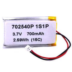 Rectangle type lithium ion polymer battery pack 702540P 1S1P 3.7V for drone and wearing devices from Shenzhen BAK Technology Co. Ltd