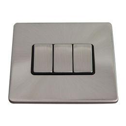 China UK Screw-less Polished Chrome 10A 3-gang 2-way Wall Light Switch