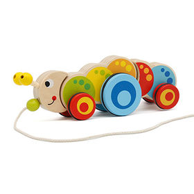 China Funny wooden pull along caterpillar toy for baby