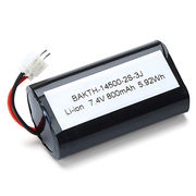 Lithium-ion battery pack 14500 2S1P 7.4V 800mAh for variety of portable electronic devices from Shenzhen BAK Technology Co. Ltd