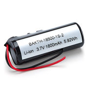 Lithium-ion battery pack 18500 1S1P 3.7V 1600mAh for variety of portable electronic devices from Shenzhen BAK Technology Co. Ltd