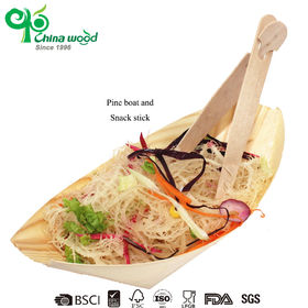 China Eco wooden disposable oval boat-shape tray plate made of pine