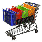 Eco-friendly Shopping Cart Trolley Bags and 4 Reusable Grocery Bags with Insulated Cooler Bag