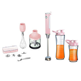 China Hand Blender, with Egg Whisk, 4 Blades, Optional 2 Tritan Jar and 400W, Pink