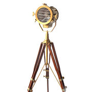 Designer Heavy Brass Tripod Floor Lamp, Nautical Searchlight Home ...