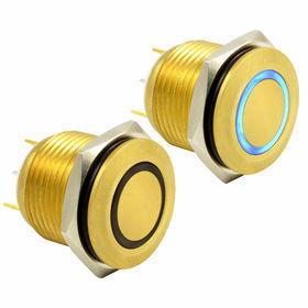 China Honyone Al alloy body metal pushbutton switch, 2-pin momentary waterproof 2A/250V DC