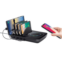 Wall charger QC 3.0 multi port USB desktop 3+1 charging station wireless charger from Shenzhen MiQi Electronic Co.,Ltd