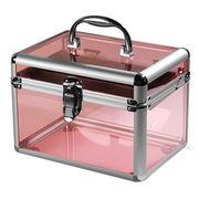 China Pink fashion aluminum acrylic display box storage makeup nail kit