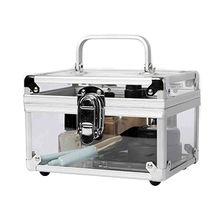China Portable Small Silver Aluminium Frame Acrylic Display Cosmetic Storage Case