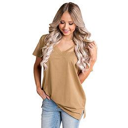 China Khaki Loose Fit Basic T-shirt