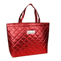 China PP shopping bag, with rose pattern quilted plaid, made of double layer nonwoven fabric