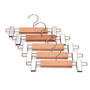 Wooden Pants Hangers with Clamp, Natural Finish from Guilin Lipu Jiahao Trading Co. Ltd
