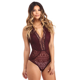 e109afd358 Wholesale custom women sexy V Neck Hollow-out Lace Bodysuit,Made of  95%Polyester+5%Spandex