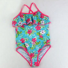 8bf7051f74d Girls' swimwear wholesale front chest ruffled floral string one piece  little girl swimsuit