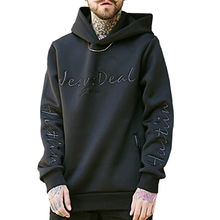a4a60ccb China Men's High Quality Custom Space Cotton Embroidered Pullover Black  Hoodies ...