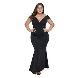 263fe4e6af8 V Neck Short Sleeve Maxi Flare Dresses Plus size Women Clothing