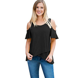 Casual Cold Shoulder High Low Women blouse from Nan an City Shiying Sexy  Lingerie Co 782167b94